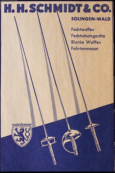 Plakat mit Fechtwaffen